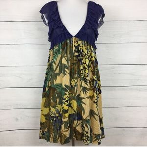 Free People Ruffled Lace & Velvet Floral Dress
